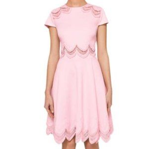 Ted Baker embroidered skater dress baby pink Sz.4